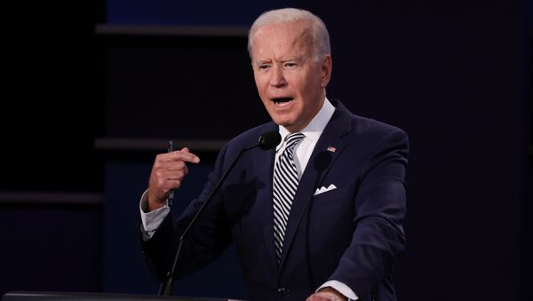 Democratic presidential nominee Joe Biden speaks as he participates in the first 2020 presidential campaign debate with U.S. President Donald Trump held on the campus of the Cleveland Clinic at Case Western Reserve University in Cleveland, Ohio, U.S., September 29, 2020 - Sputnik International