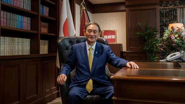 Japanese Chief Cabinet Secretary Yoshihide Suga poses for a picture following his press conference at LDP (Liberal Democratic Party) headquarters, in Tokyo, Japan September 14, 2020 - Sputnik International