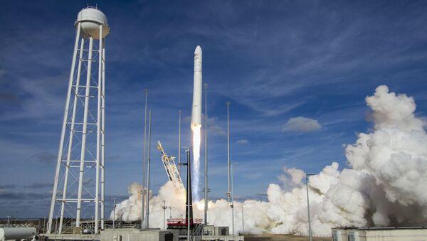 The Northrop Grumman Antares rocket, with Cygnus resupply spacecraft onboard, launches from Pad-0A at NASA's Wallops Flight Facility in Wallops Island, Va, Saturday, Feb. 15, 2020. - Sputnik International