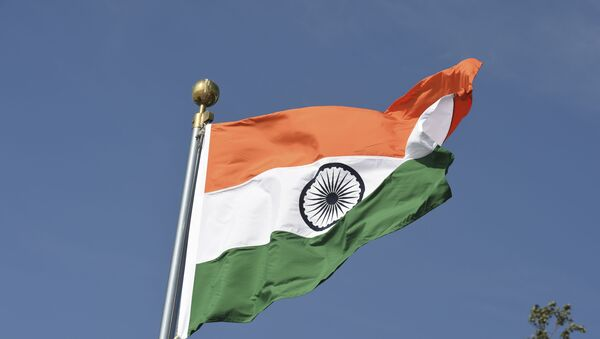 An Indian national flag is pictured before the arrival of Brazilian President Jair Bolsonaro (unseen) at the Palam Air Force station in New Delhi on January 24, 2020. - - Sputnik International