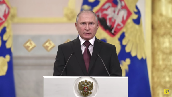 a digitally recreated Russian President Vladimir Putin urges Americans to save their electoral system from corruption in a series of deepfake ads by nonprofit group RepresentUS - Sputnik International