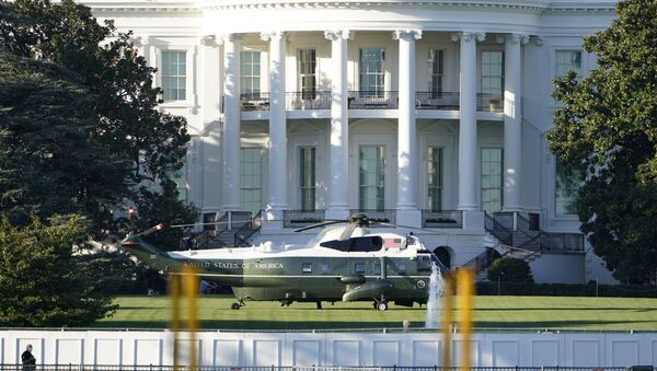 Marine One is shown on the White House South Lawn, Friday, Oct. 2, 2020, in Washington where the President will board for a flight to Walter Reed Medical Center in Bethesda, Md. - Sputnik International