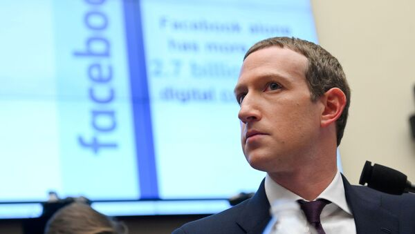 Facebook Chairman and CEO Mark Zuckerberg testifies at a House Financial Services Committee hearing in Washington, U.S., October 23, 2019. - Sputnik International