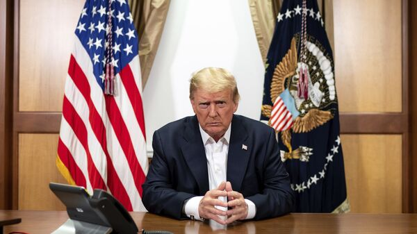 In this image provided by the White House, President Donald Trump listens during a phone call with Vice President Mike Pence, Secretary of State Mike Pompeo, and Chairman of the Joint Chiefs of Staff Gen. Mark Milley, Sunday, Oct. 4, 2020 - Sputnik International