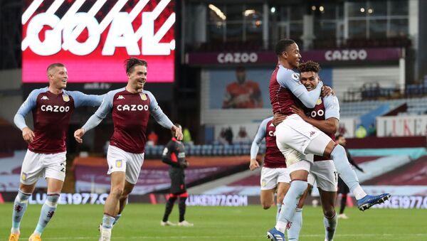 Aston Villa's Ollie Watkins celebrates scoring their fourth goal and completing his hat-trick with Ezri Konsa and teammates - Sputnik International