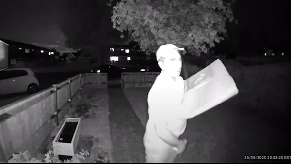 A screenshot from surveillance camera footage of a Domino's Pizza delivery driver rubbing an ice cream container on his crotch while waiting for a customer to open the door. - Sputnik International