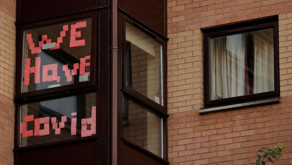 A sign is displayed in the window of a student accommodation building following the outbreak of the coronavirus disease (COVID-19) in Manchester, Britain, October 5, 2020.  - Sputnik International