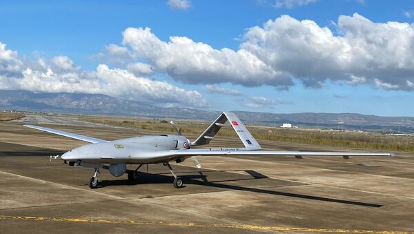 A Turkish-made Bayraktar TB2 drone is seen shortly after its landing at an airport in Gecitkala, known as Lefkoniko in Greek, in Cyprus, Monday, Dec. 16, 2019 - Sputnik International