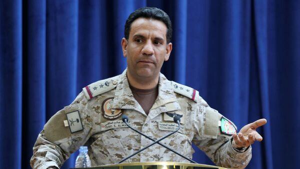 Saudi-led coalition spokesman, Colonel Turki al-Malki, speaks during a news conference in Riyadh, Saudi Arabia September 27, 2020 - Sputnik International