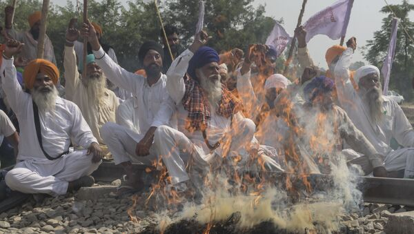 Farmers shout slogans while burning an effigy with pictures of Congress party leader Rahul Gandhi, Indian Prime Minister Narendra Modi, Aam Aadmi Party (AAP) and Member of Parliament Bhagwant Mann and Shiromani Akali Dal (SAD) party President Sukhbir Singh Badal during a protest against the recent passing of agriculture reform bills in the Parliament, on the outskirts of Amritsar on October 6, 2020 - Sputnik International