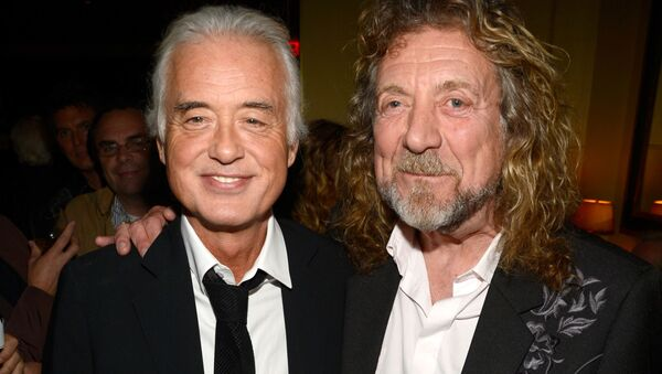 NEW YORK, NY - OCTOBER 09: (Exclusive Coverage) Jimmy Page and Robert Plant attend the after party for Led Zeppelin: Celebration Day at Monkey Bar on October 9, 2012 in New York City - Sputnik International