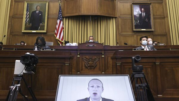 Facebook CEO Mark Zuckerberg speaks via video conference during a House Judiciary subcommittee hearing on antitrust on Capitol Hill on Wednesday, July 29, 2020, in Washington. - Sputnik International