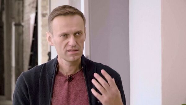Russian opposition politician Alexei Navalny speaks during an interview with prominent Russian YouTube blogger Yury Dud, in Berlin, Germany, in this still image taken from a handout video released October 6, 2020 - Sputnik International