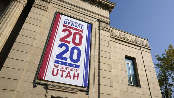 Banners hang from Kingsbury Hall at the University of Utah as preparations take place for the vice presidential debate between Vice President Mike Pence and Democratic vice presidential candidate, Sen. Kamala Harris, D-Calif., Wednesday, Oct. 7, 2020, in Salt Lake City - Sputnik International