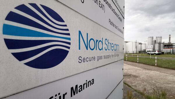An information billboard near the Nord Stream 2 gas pipeline station in Lubmin, Germany. - Sputnik International
