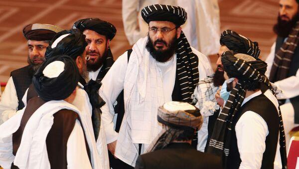 Taliban delegates speak during talks between the Afghan government and Taliban insurgents in Doha, Qatar September 12, 2020. - Sputnik International