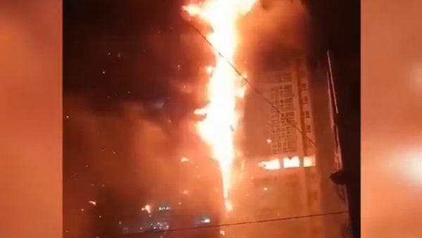 A video screenshot of a massive fire at the Samhwan Art Nouveau commercial and residential building in the city of Ulsan, South Korea, on 08.10.2020. - Sputnik International