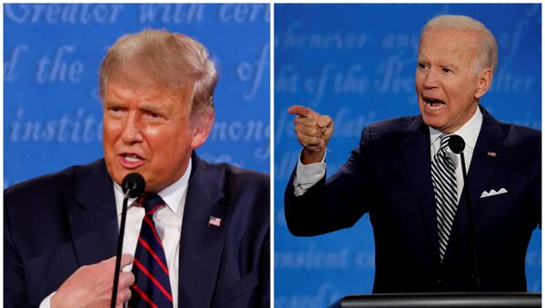 A combination picture shows US President Donald Trump and Democratic presidential nominee Joe Biden speaking during the first 2020 presidential campaign debate, held on the campus of the Cleveland Clinic at Case Western Reserve University in Cleveland, Ohio, US, 29 September 2020 - Sputnik International