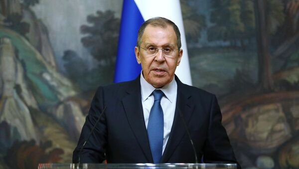Russian Foreign Minister Sergey Lavrov delivers a joint statement after trilateral talks between Russia, Armenia and Azerbaijan over Nagorno-Karabakh ceasefire, 10 October 2020 - Sputnik International