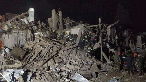 A photo showing a residence building destroyed by what is described by the Azeri Prosecutor General's office as the result of an Armenian rocket attack, 11 October 2020 - Sputnik International