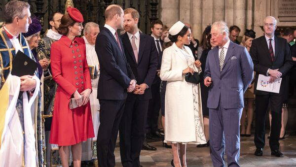 Britain's Prince Charles, talks with Meghan, the Duchess of Sussex as they attend the Commonwealth Service with other members of the Royal family at Westminster Abbey in London, Monday, March 11, 2019 - Sputnik International