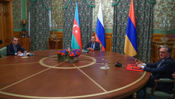 Trilateral talks between Russia, Armenia, and Azerbaijan on the Nagorno-Karabakh conflict take place in Moscow, 9 October 2020 - Sputnik International