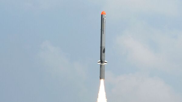 In this handout photograph released by the Press Information Bureau (PIB) on October 17, 2014, the Nirbhay sub-sonic cruise missile is launched at Balasore in the Indian state of Odisha.  - Sputnik International