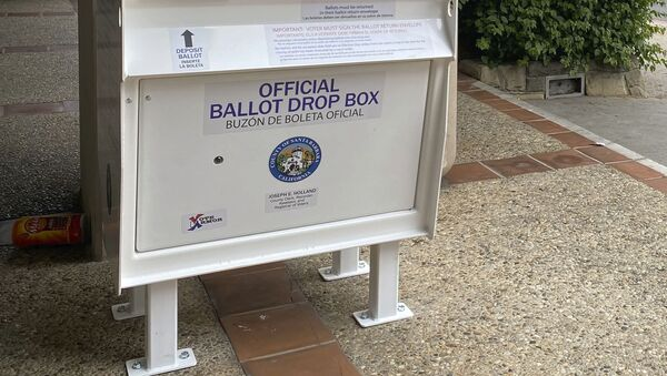 This undated photo provided by Santa Barbara County shows a ballot drop box that will be used in this year's election. - Sputnik International