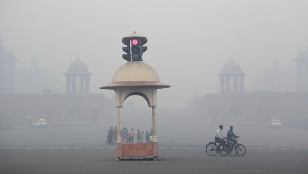 Cyclist pedal through the morning smog a day after Diwali festival, in New Delhi, India, Friday, Oct. 20, 2017 - Sputnik International