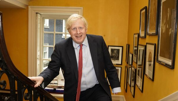 A handout image released by 10 Downing Street, shows Britain's Prime Minister Boris Johnson as he arrives back from hospital after the birth of his baby son with his partner Carrie Symonds, inside No 10 Downing Street in central London on April 29, 2020 - Sputnik International