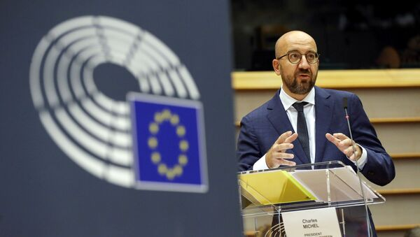 European Council President Charles Michel delivers a speech during a plenary session on the conclusions of the extraordinary European Council meeting at the European Parliament in Brussels, Belgium July 23, 2020. - Sputnik International