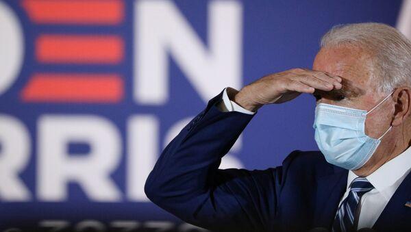 U.S. Democratic presidential candidate Joe Biden delivers remarks on a Vision for Older Americans event at the Southwest Focal Point Community Center, in Pembroke Pines, Florida, U.S., October 13, 2020. - Sputnik International