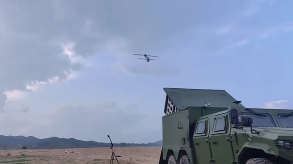 The China Academy of Electronics and Information Technology tests launching a swarm of suicide drones from a modified Dongfeng Mengshi 6x6 truck - Sputnik International