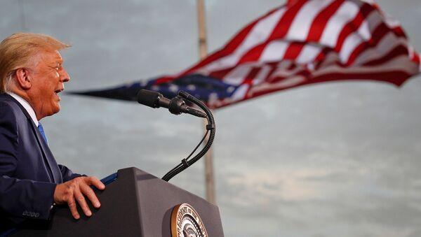 US President Donald Trump speaks during a campaign rally at Cecil Airport in Jacksonville, Florida, US, September 24, 2020. REUTERS/Tom Brenner  - Sputnik International