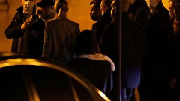 French President Emmanuel Macron arrives to visit the scene of a stabbing attack in the Paris suburb of Conflans St Honorine, France, October 16, 2020. - Sputnik International