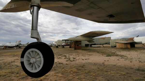 The 39th and final B-52G Stratofortress, tail number 58-0224, accountable under the New START Treaty (Strategic Arms Reduction Treaty) with Russia, is shown at the 309th Aerospace Maintenance and Regeneration Group boneyard Thursday, May 21, 2015 at Davis-Monthan Air Force Base in Tucson, Ariz. The United States cut the tails off 39 B-52G's in order to remove them from treaty accountability, as they still count as nuclear-capable delivery platforms with their tails attached. The tails are angled at 30 degrees so Russian satellites can view compliance. Tail number 58-0224, nicknamed Sweet Tracy, flew combat missions over North Vietnam in Operation Linebacker II, which began Dec. 18, 1972 and lasted 11 nights. This particular B-52G, 58-0224, targeted the Yen Vien Railroad Yards and the Hanoi Railroad Repair Yards. At the time, bomber was stationed in Guam.  - Sputnik International