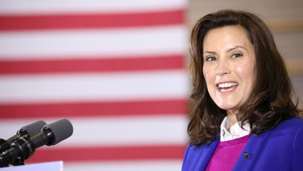Michigan Governor Gretchen Whitmer (D-MI) speaks during an event with U.S. Democratic presidential candidate Joe Biden (not pictured) at the Beech Woods Recreation Center in Southfield, Michigan, U.S. , October 16, 2020.  - Sputnik International