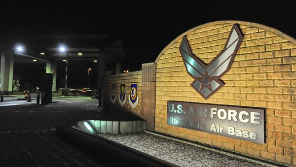 A picture taken on January 17, 2016 shows the logo at the entrance of the US Air base in Ramstein - Sputnik International