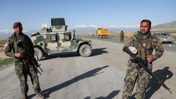Afghan National Army (ANA) soldiers stand guard at a check point near the Bagram Airbase north of Kabul, Afghanistan April 2, 2020 - Sputnik International