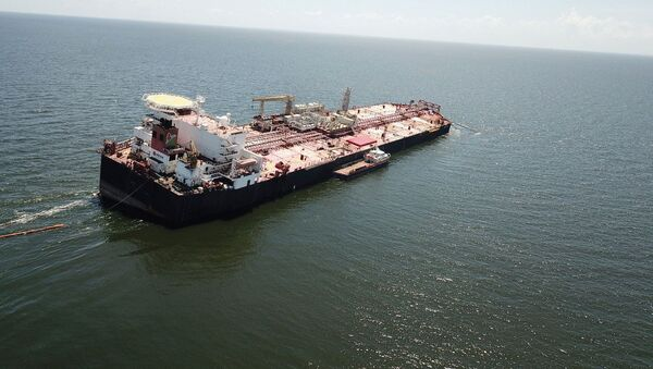 The Nabarima floating storage and offloading (FSO) facility, operated by the Petrosucre joint venture between Venezuelan state oil company Petroleos de Venezuela and Italy's Eni, is seen tilted in the Paria Gulf, between Venezuela and Trinidad and Tobago, 16 October 2020 - Sputnik International