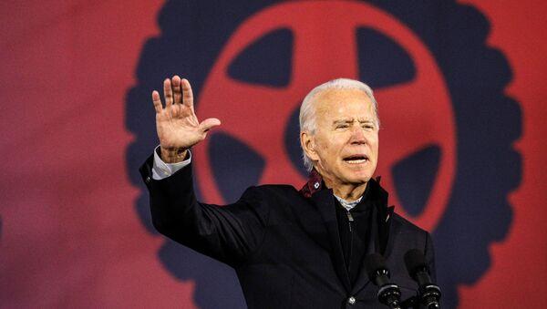 U.S. Democratic presidential candidate Joe Biden speaks during a voter mobilization event at the Michigan State Fairgrounds in Novi, Michigan, October 16, 2020.  - Sputnik International