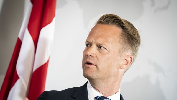 Danish Foreign Minister Jeppe Kofod addresses a press conference in Eigtved's Warehouse in Copenhagen, on July 21, 2020, on the eve of US Secretary of State Mike Pompeo's visit to Copenhagen.  - Sputnik International