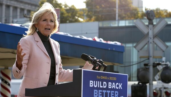 Dr. Jill Biden, wife of Democratic U.S. presidential nominee Joe Biden, speaks during a campaign event to launch a train campaign tour at Cleveland Amtrak Station September 30, 2020 in Cleveland, Ohio - Sputnik International