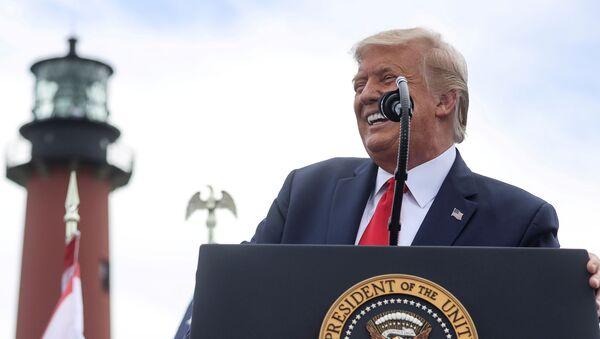 U.S. President Donald Trump speaks about the environment during a campaign stop at Jupiter Inlet Lighthouse and Museum in Jupiter, Florida, U.S., September 8, 2020.  - Sputnik International