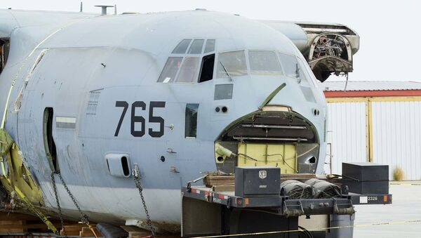 The nose section of a US Marine Corps KC-130J Hercules aerial tanker aircraft that crash-landed in California on September 29 following a mid-air collision with an F-35 - Sputnik International