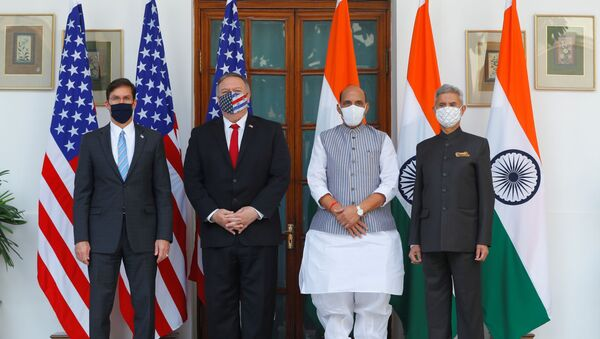 US Secretary of State Mike Pompeo, US Secretary of Defense Mark Esper pose for a picture with India's Foreign Minister Subrahmanyam Jaishankar and India?s Defence Minister Rajnath Singh during a photo opportunity ahead of their meeting at Hyderabad House in New Delhi, India, October 27, 2020 - Sputnik International