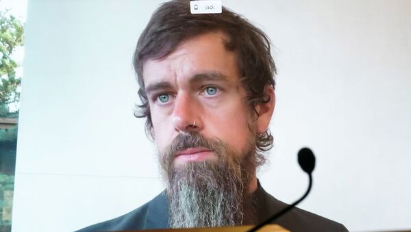 CEO of Twitter Jack Dorsey testifies remotely during the Senate Commerce, Science, and Transportation Committee hearing 'Does Section 230's Sweeping Immunity Enable Big Tech Bad Behavior?', on Capitol Hill in Washington, DC, U.S., October 28, 2020. - Sputnik International