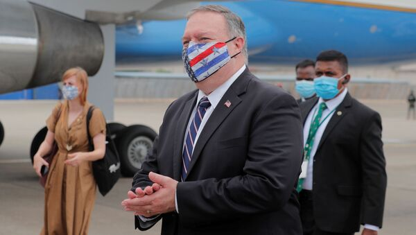 U.S. Secretary of State Mike Pompeo walks to board an aircraft to leave for Maldives, in Colombo, Sri Lanka October 28, 2020. - Sputnik International
