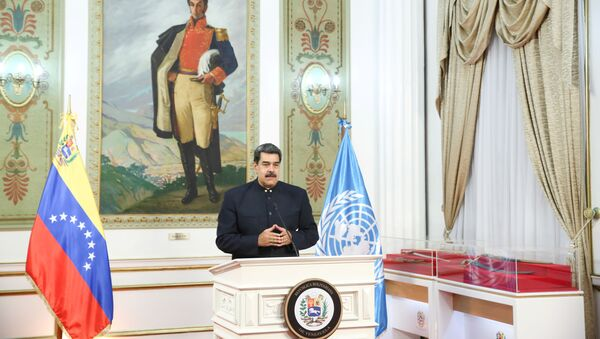 Venezuela's President Nicolas Maduro speaks virtually during the 75th annual U.N. General Assembly, which is being held mostly virtually due to the coronavirus disease (COVID-19) pandemic, from Miraflores Palace in Caracas, Venezuela September 23, 2020. - Sputnik International