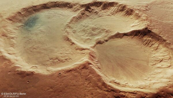 Perspective view of triple martian crater - Sputnik International